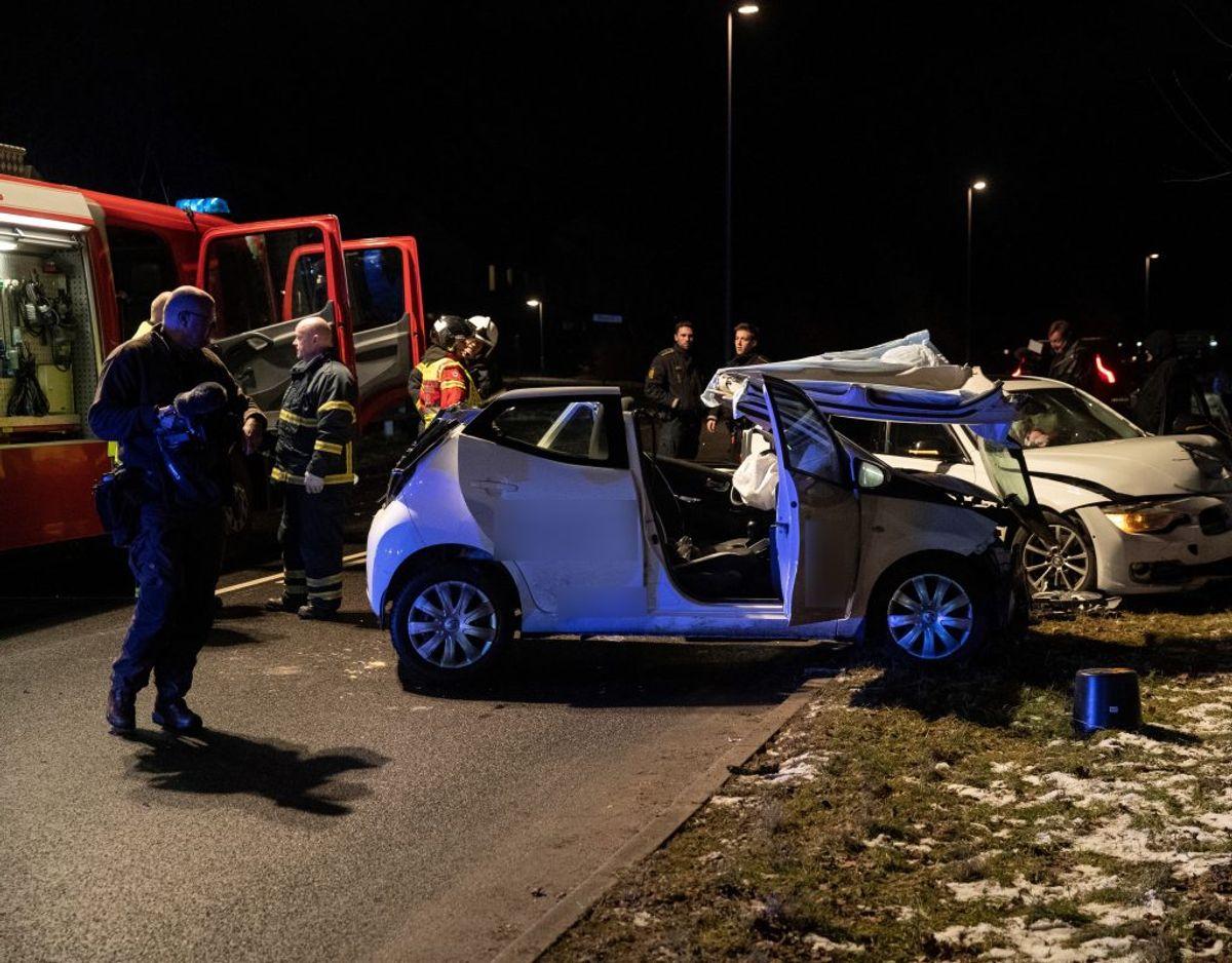 Ulykken skete tidligt tirsdag aften. Foto: Rasmus Skaftved.