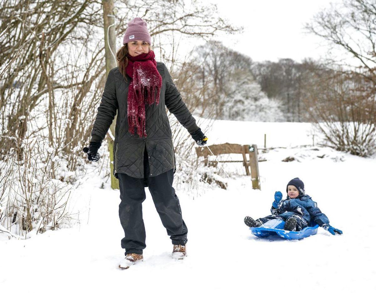 Her nyder en kvinde og et lille barn dog muligheden for at lufte bobslæden på Troldhedestien i bydelen Bramdrupdam.. (Foto: Frank Cilius/Ritzau Scanpix)