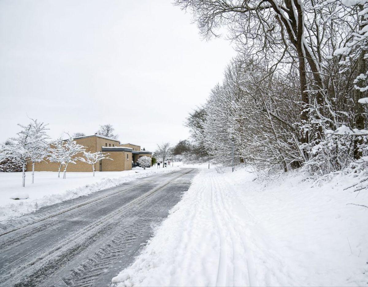 Et villakvarter med en sneryddet vej og et snedækket fortov. (Foto: Frank Cilius/Ritzau Scanpix)
