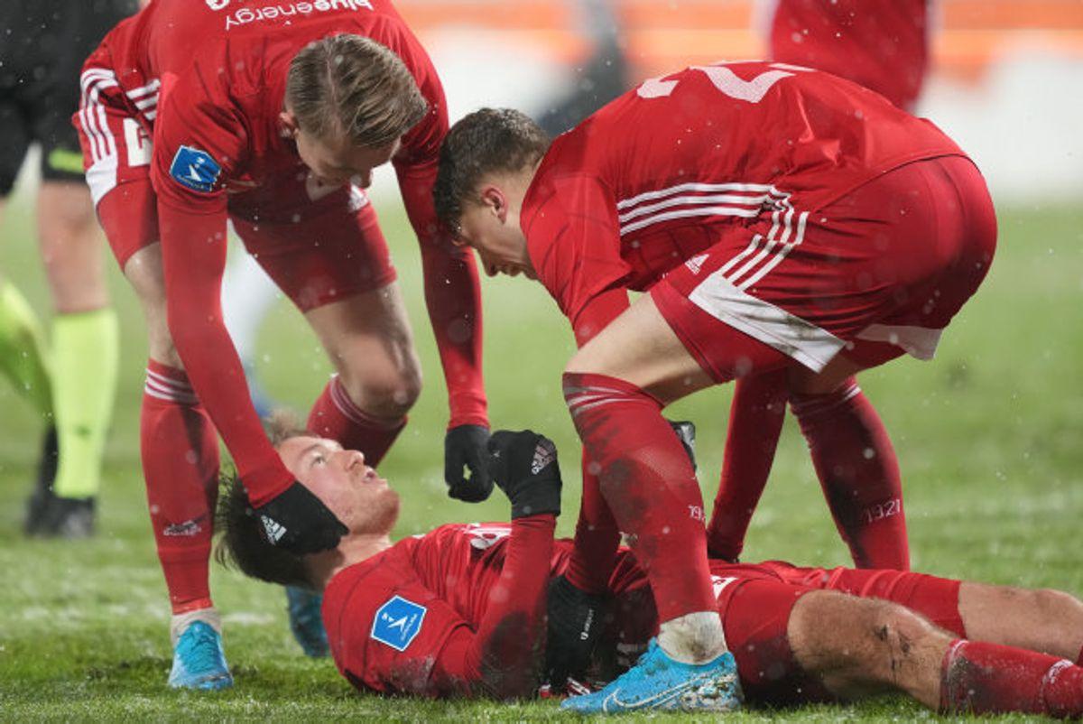 Lyngby kunne fejre målet, der gav en kneben sejr på 1-0 ude over OB. Foto: Claus Fisker/Scanpix