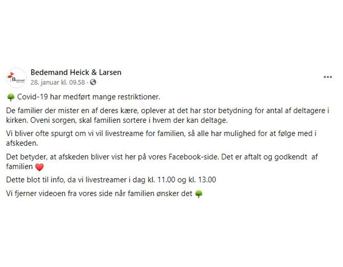 """Bedemand Heick & Larsen """"advarer"""" altid med denne besked forud for en transmitteret bisættelse. Foto: Screenshot"""