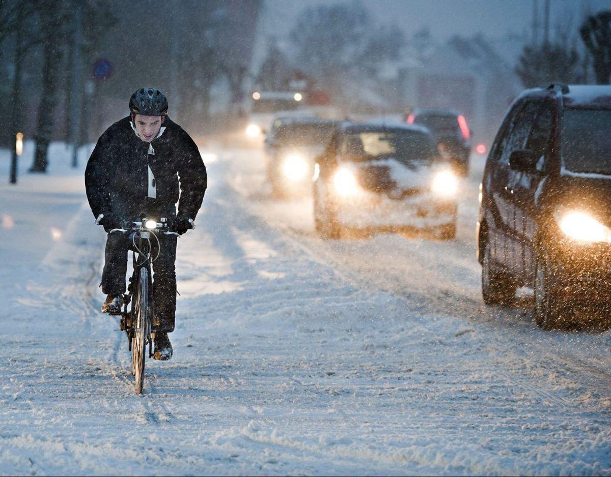 Masser af sne på vej. (Foto: Henning Bagger/Ritzau Scanpix)