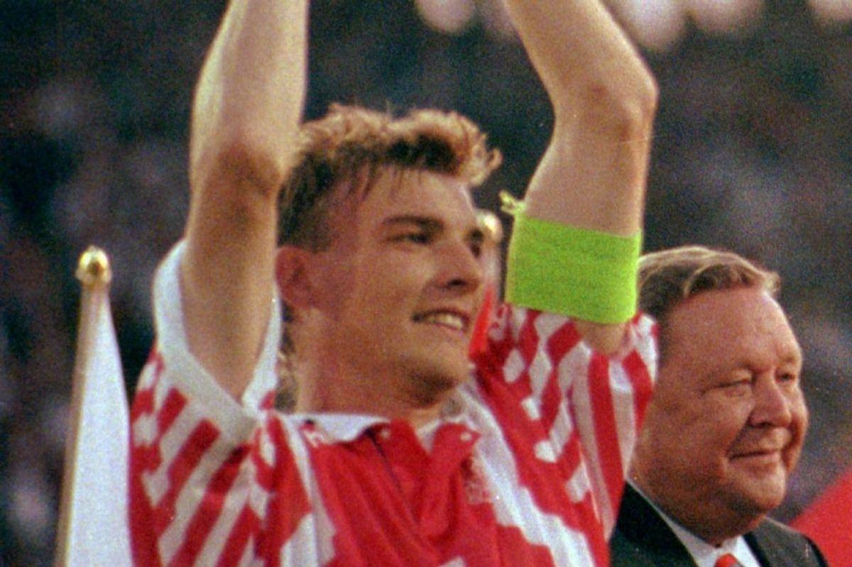 Lars Olsen nåede at spille 84 kampe for det danske landshold. Tirsdag fylder den tidligere anfører 60 år (Arkivfoto). – Foto: Palle Hedemann/Ritzau Scanpix