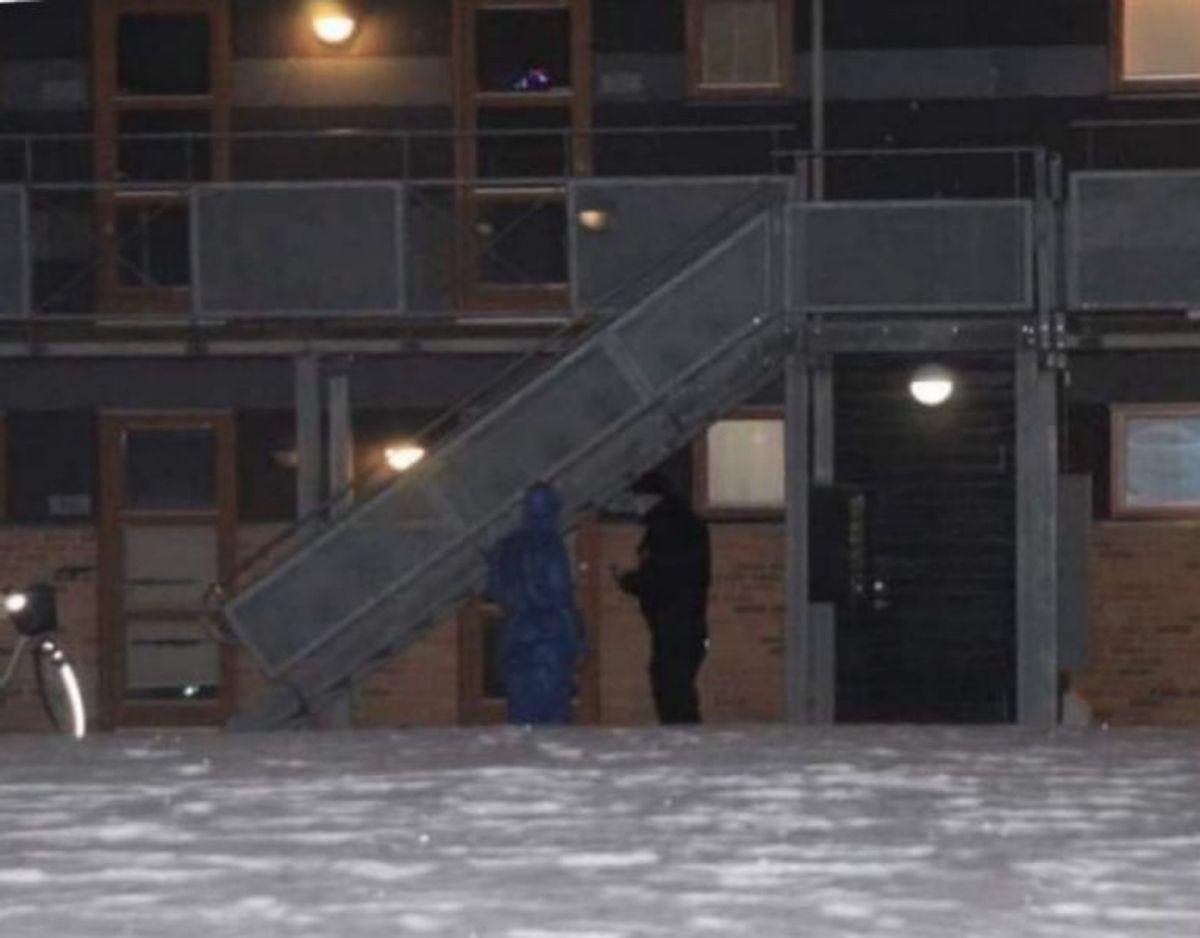 Politiet rykkede ud mandag aften. Foto: Presse-fotos.dk.