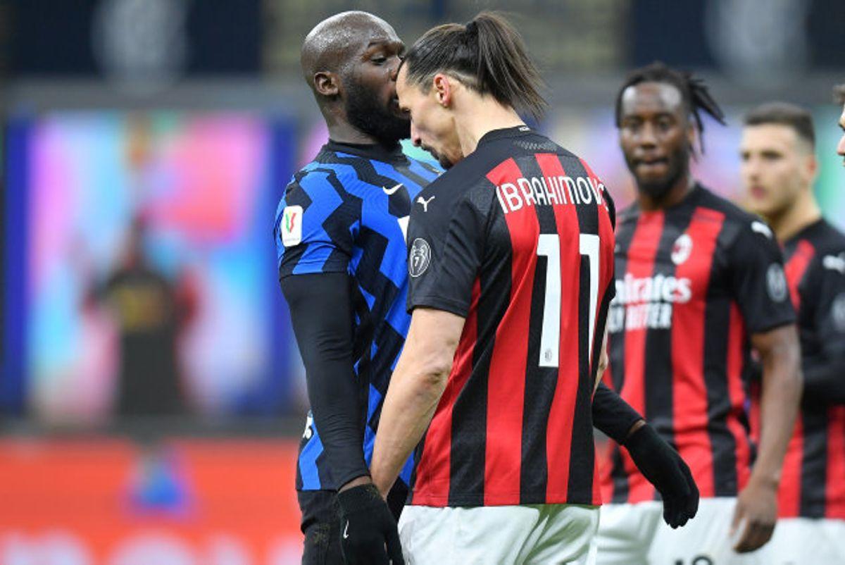 Milans Zlatan Ibrahimovic og Inters Romelu Lukaku røg verbalt i totterne på hinanden i sidste uge. Foto: Daniele Mascolo/Reuters