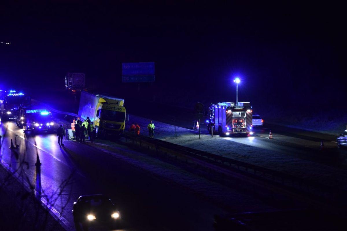 Uheld på den sønderjyske motorvej. Foto: presse-fotos.dk