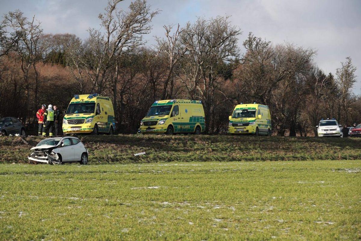 Politiet betragter ulykken som alvorlig. KLIK FOR FLERE BILLEDER. Foto: Presse-fotos.dk