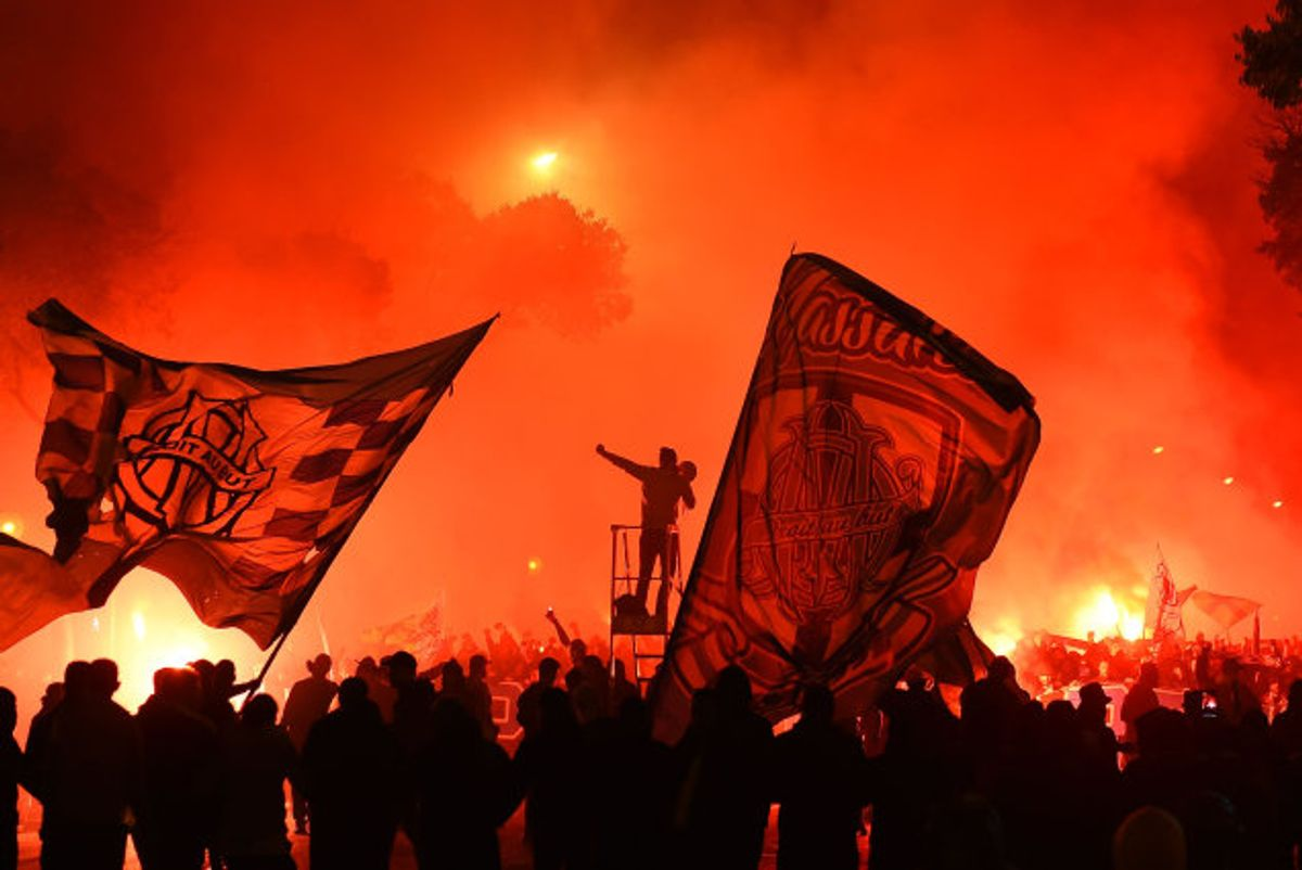 Marseille-fans har længe været utilfreds med den retning, klubben har været på vej i. Dette billede er fra en demonstration i november. Foto: Sylvain Thomas/AFP