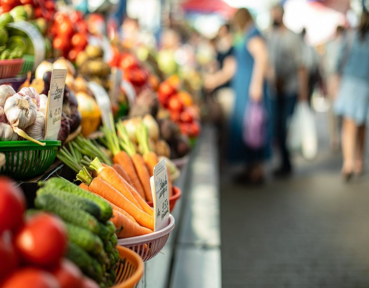 Close up of colorful array of vegetables at a fresh food market. Market and trade concept