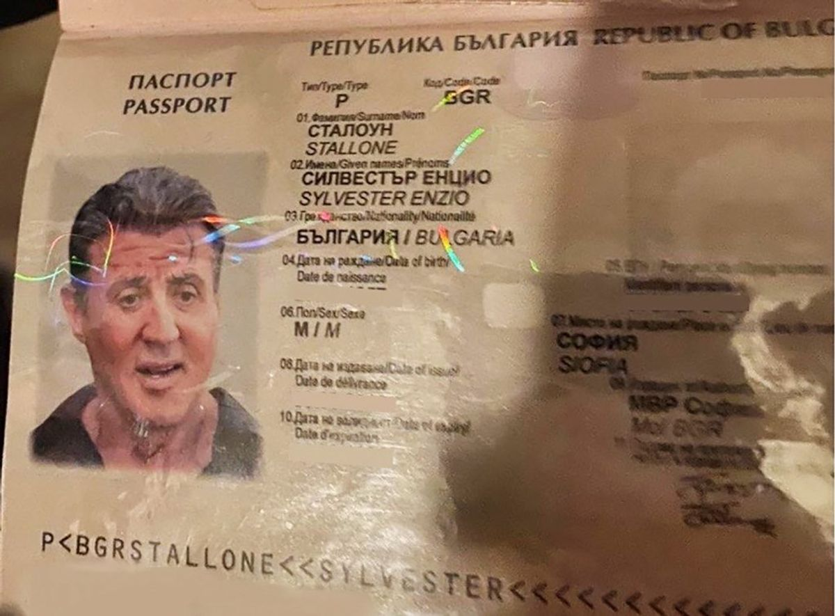 Sådan ser det falske pas med et foto af Sylvester Stallone ud. Foto: Scanpix/AFP/BULGARIAN PROSECUTORS OFFICE