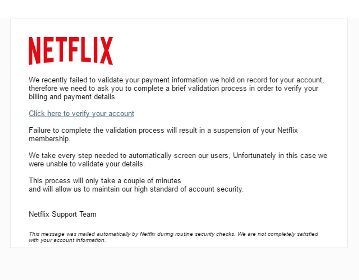 """Denne mail fra """"Netflix"""" er også et klassisk eksempel på et phishing-forsøg."""