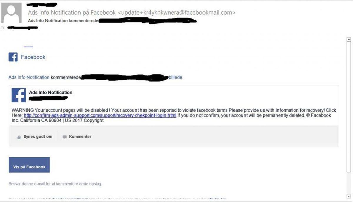 """Her er det media-giganten Facebook, der """"mangler"""" oplysninger fra dig. Mailen er falsk, og du skal slette den. Foto: NC3"""