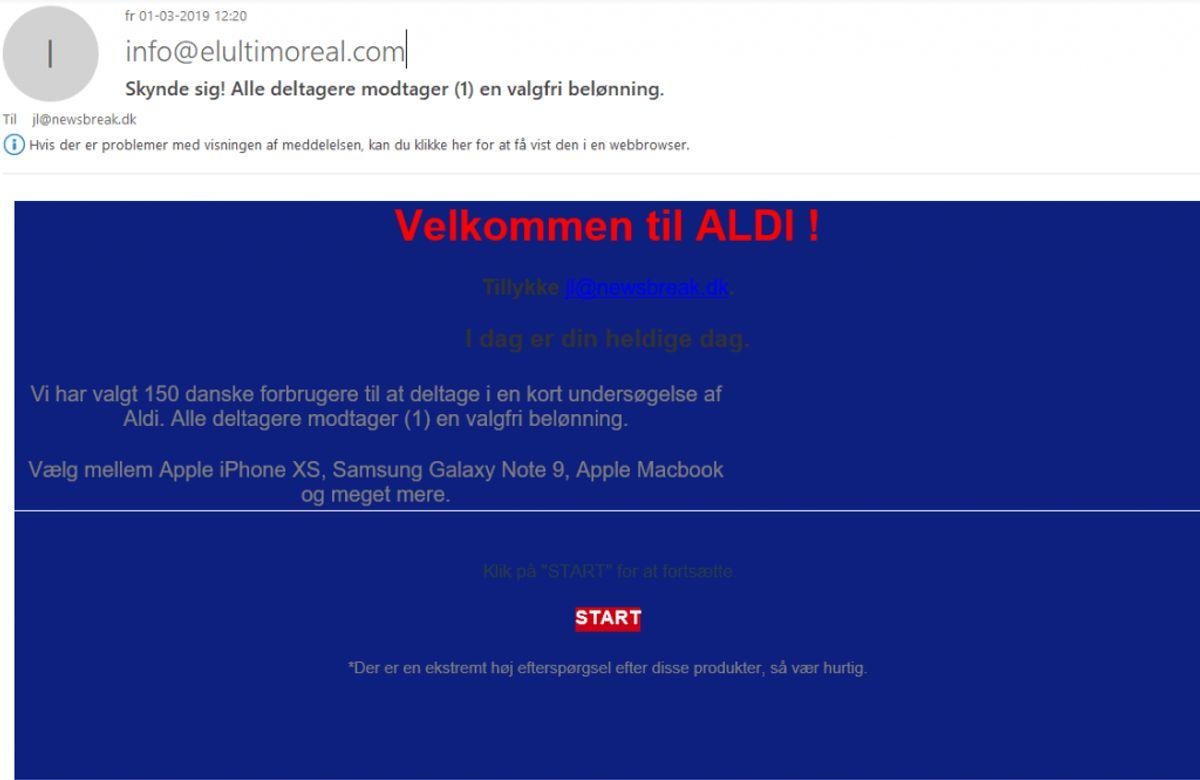 Kæden Lidl er også et navn, svindlerne gemmer sig bag. Denne mail er således kommet Newsbreak.dk i hænde denne fredag. Dog er den jammerligt udført. Foto: Screenshot