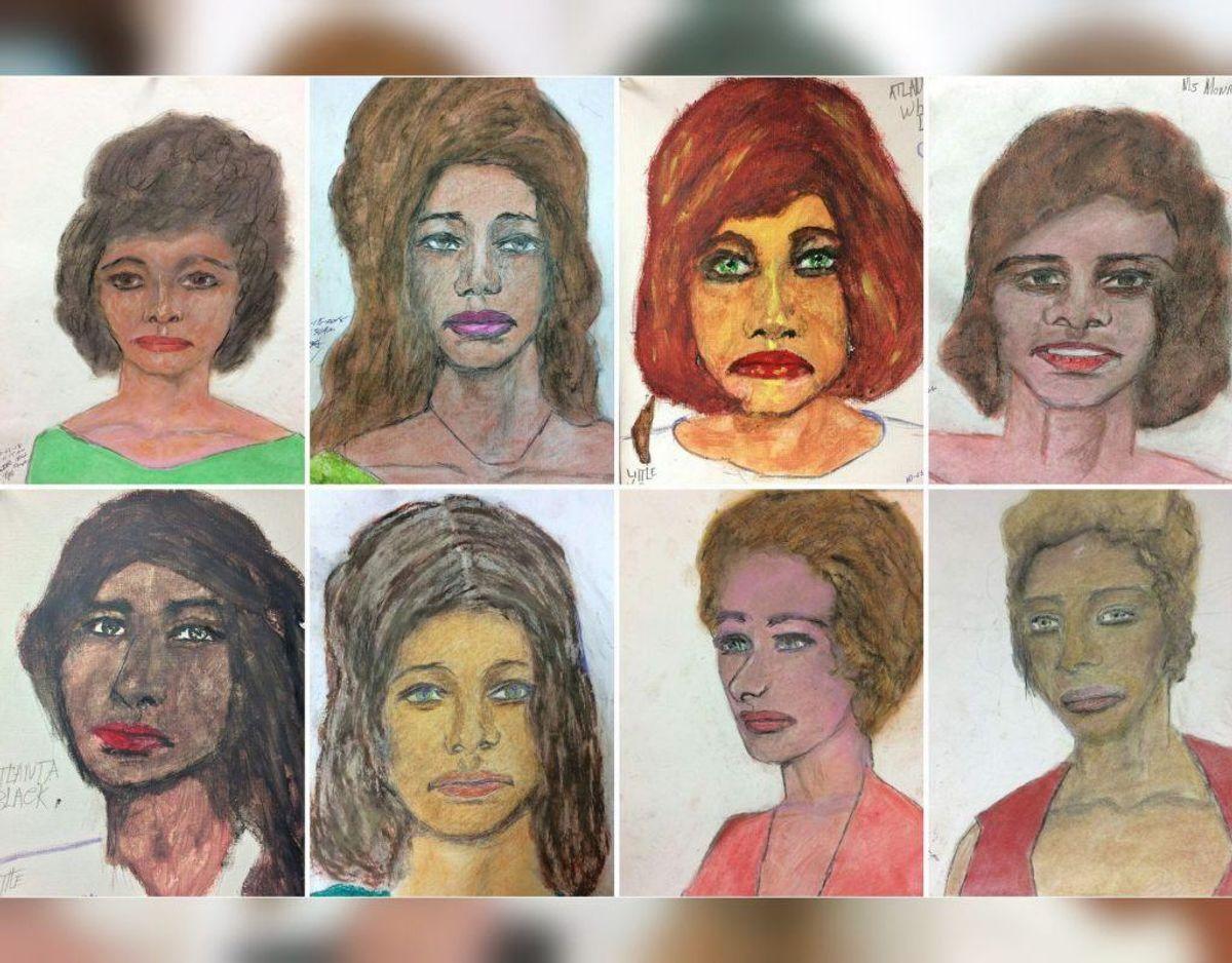 Dette er otte af de 16 portrætter, Samuel Little tegnede. Foto: Scanpix.