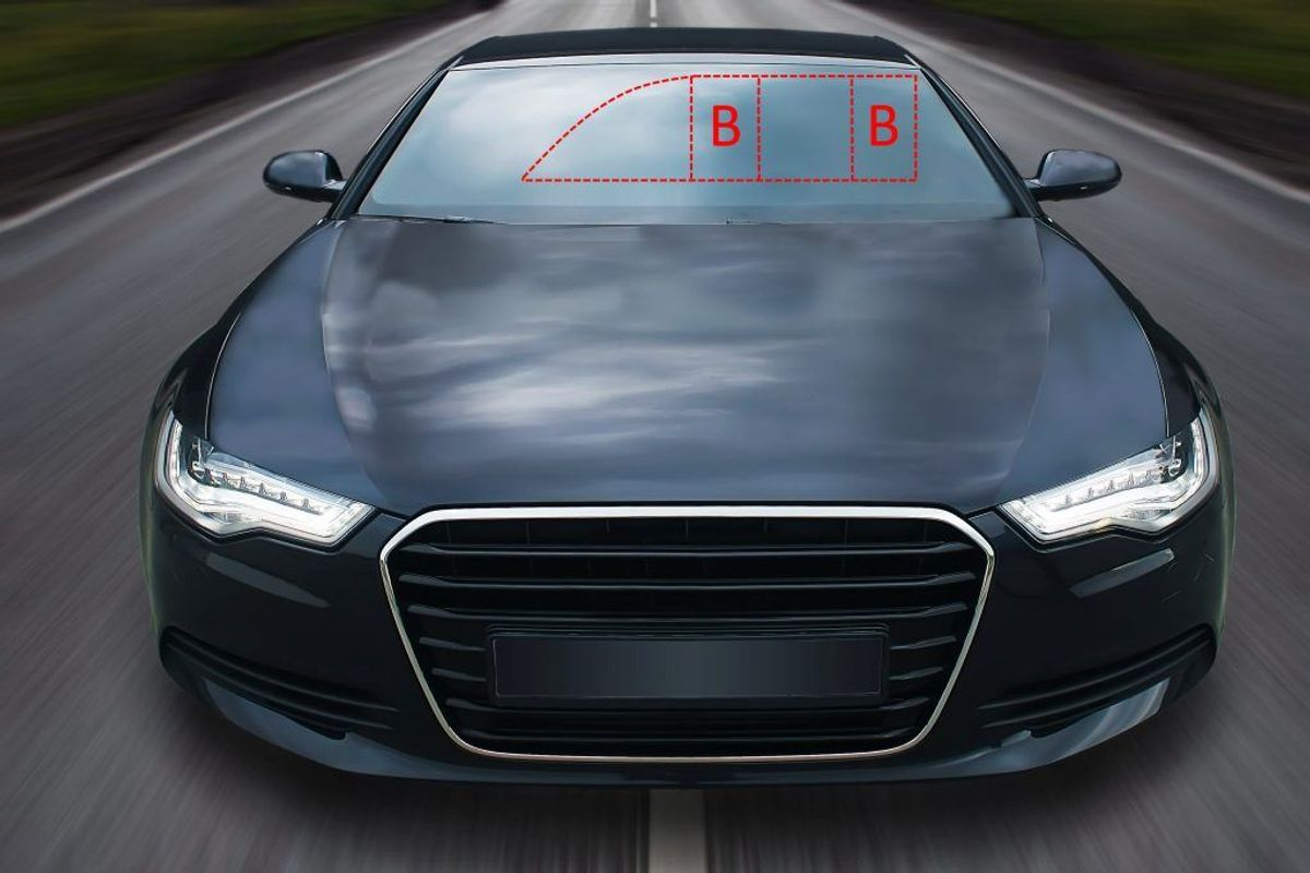 Stenslag og revner med en diameter på 10mm og 50mm og opefter godkendes ikke ved syn. Ergo er det ulovligt at køre en bil med en sådan skade. Kilde/grafik: Færdselsstyrelsen/NB.