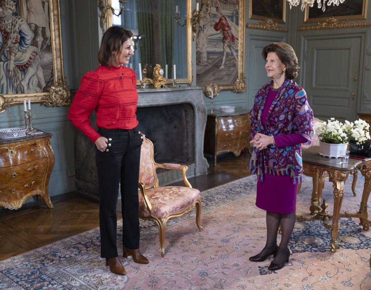 Rania Shemoun Olsson og dronning Silvia på Drottningholm Slot i Stockholm. Foto: Johan Österberg/TV4.