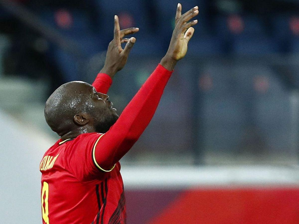 Belgiens Romelu Lukaku fejrer sin scoring. Foto: Francois Lenoir/Scanpix.