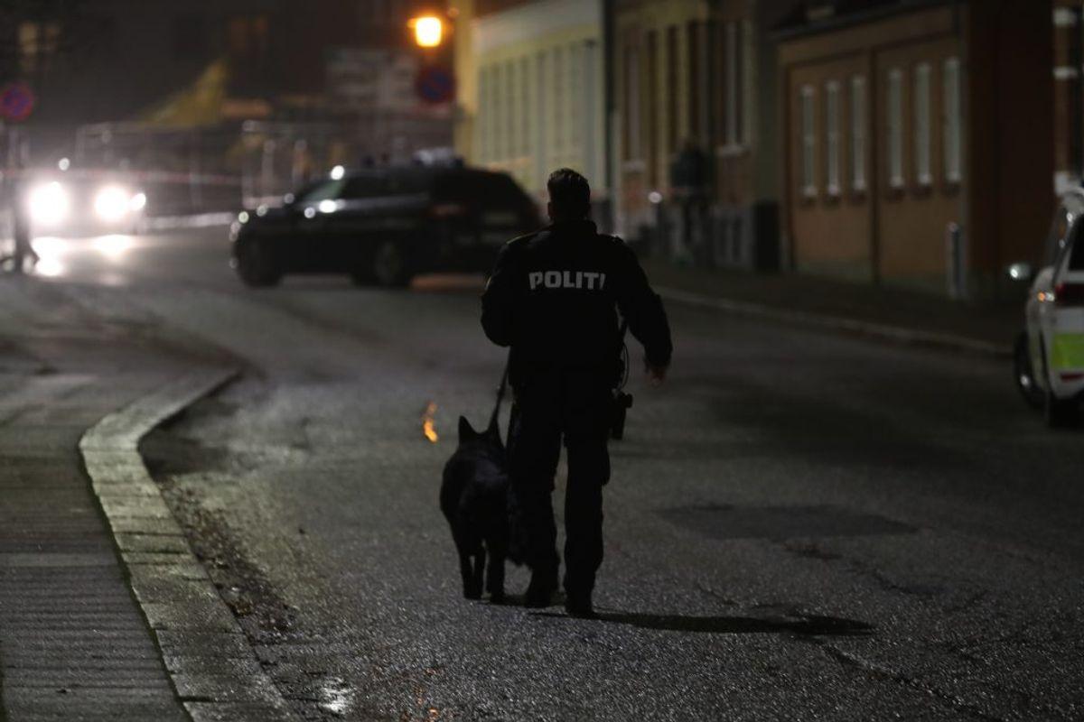 Politiet var tirsdag aften massivt til stede på grund af et masseslagsmål. Har du set noget, hører politiet gerne fra dig. KLIK for flere billeder. Foto: Rasmus Skaftved.