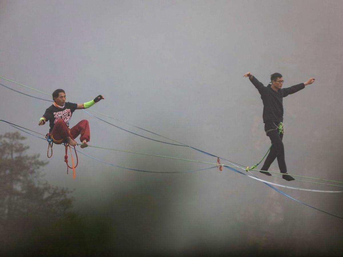 Linen er 100 meter lang. (Foto: STR / AFP/Scanpix).