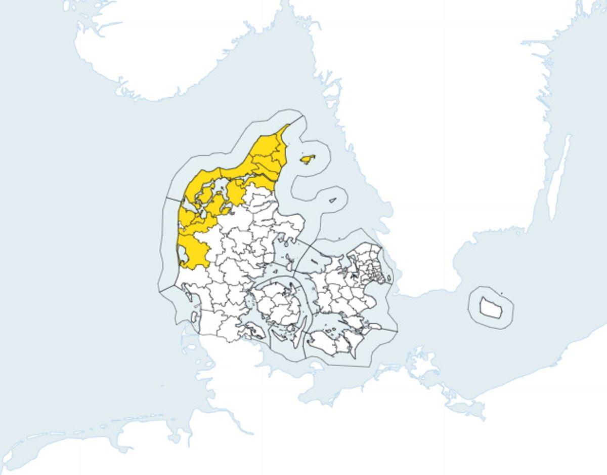 Varslet er gældende i de områder, der er markeret med gult. Foto: DMI.