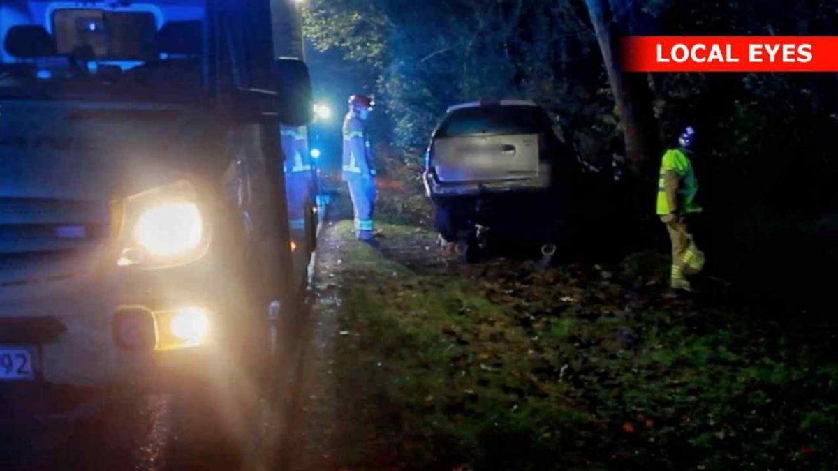 Den 23-årige mistede herredømmet, da han ville køre udenom en knallert. Både han og knallertføreren var påvirket af alkohol. Foto: Local Eyes