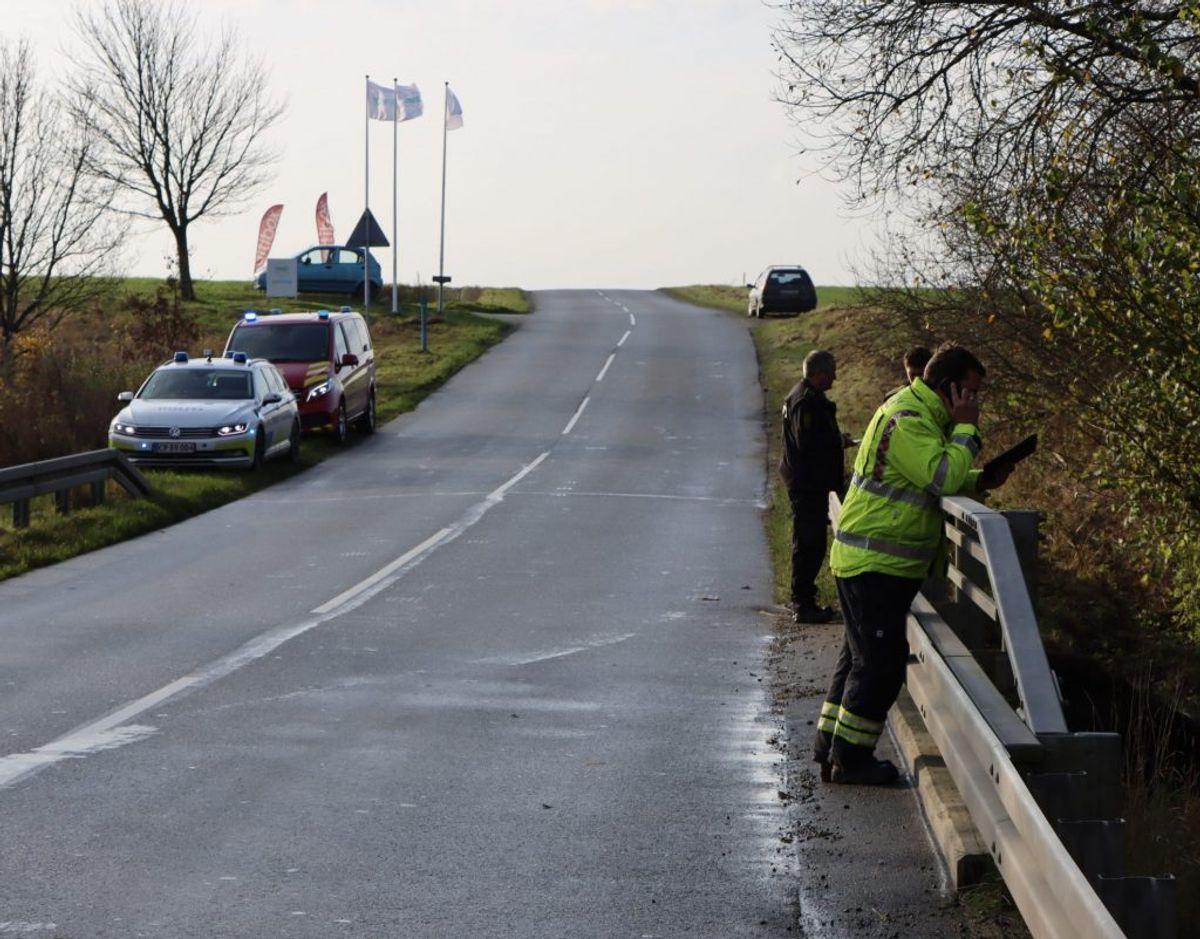 En bilist er søndag havnet i Skjern å ved Brande