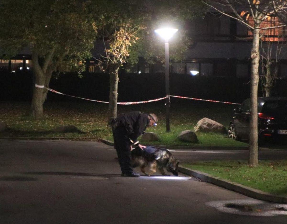 Politiet er lørdag aften stadig på plads i Vollsmose. Foto: Presse-fotos.dk