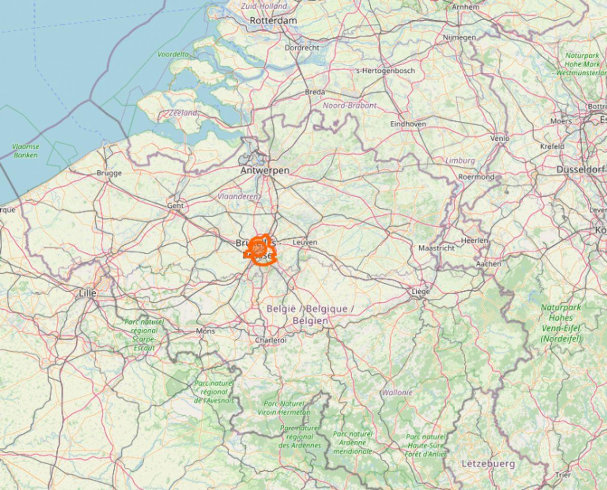 Belgiens hovedstad, Bruxelles, er blandt Europas hårdest ramte områder. Her er 1425 personer smittet per 100.000 indbyggere. Foto: Openstreetmap.org