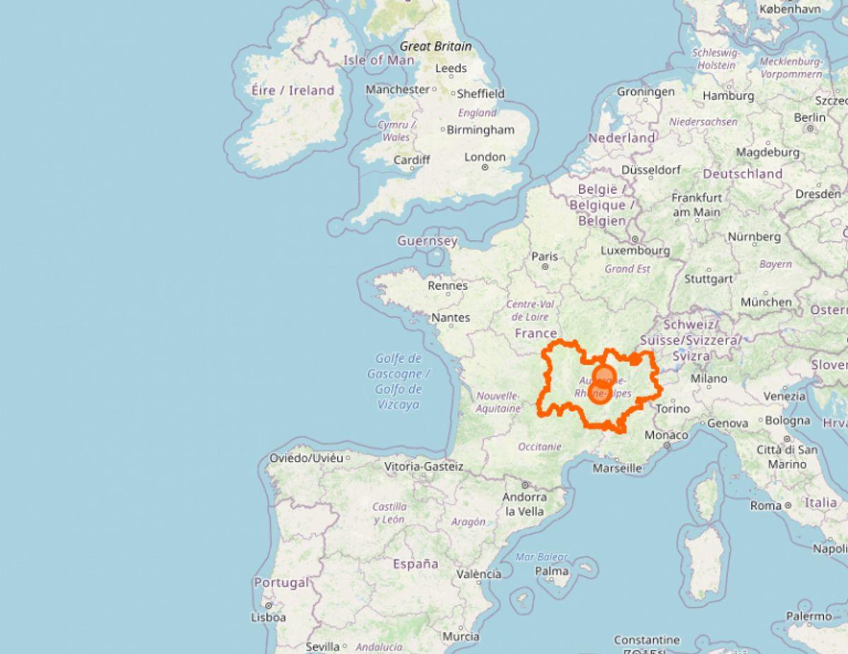 Den franske region Auvergne-Rhône-Alpes, hvor blandt andet storbyen Lyon ligger, har  1601 smittede per 100.000 Foto: Openstreetmap.org