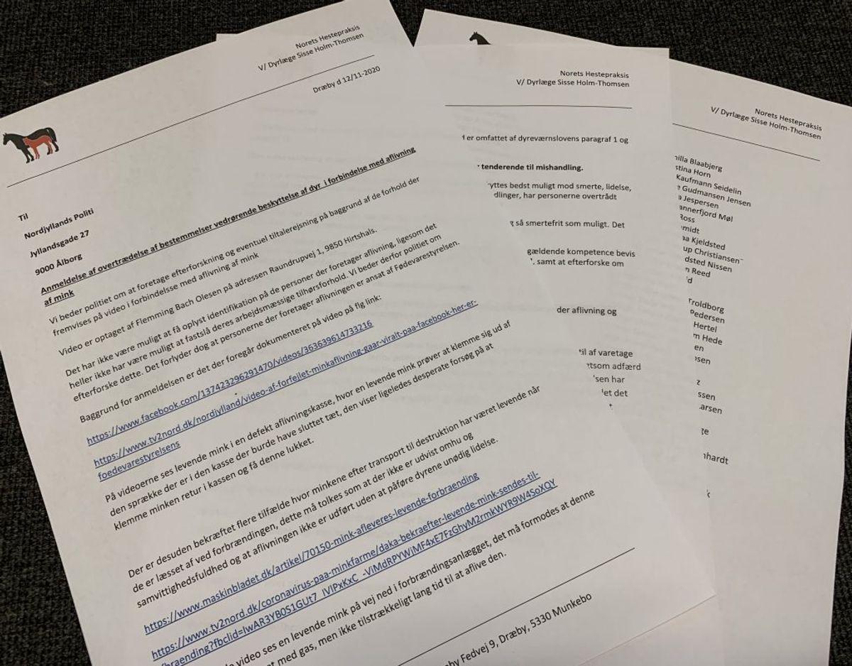 Det er denne anmeldelse de 78 dyrlæger har indgivet til Nordjyllands Politi. Foto: Newsbreak.dk.