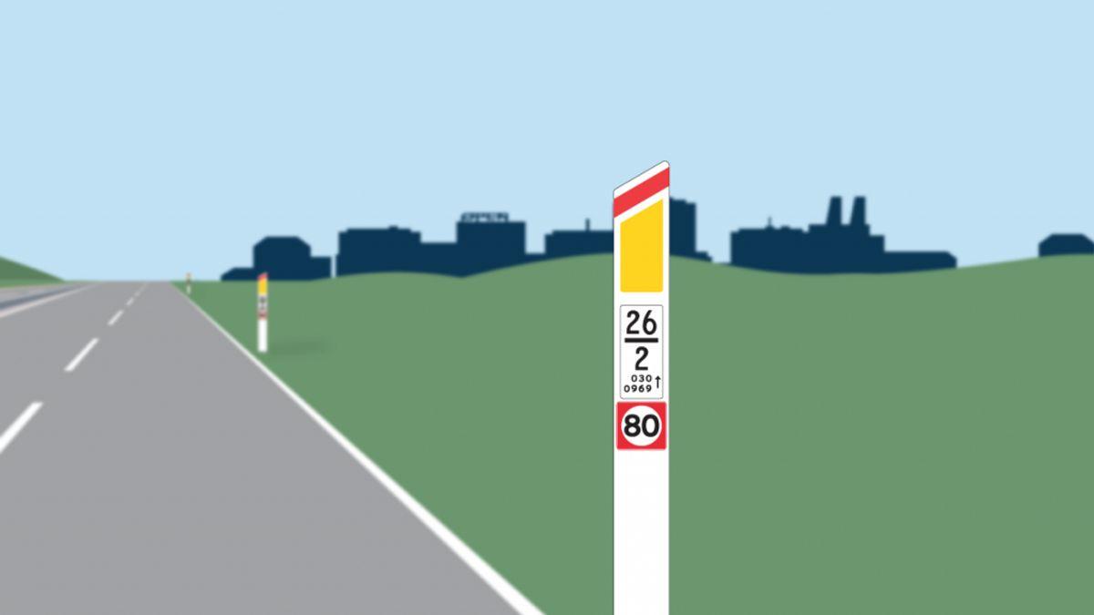 Fartmærkerne ligner de typiske fartskilte. Mærkerne skal placeres på hver eller hver anden kantpæl. Foto: Vejdirektoratet