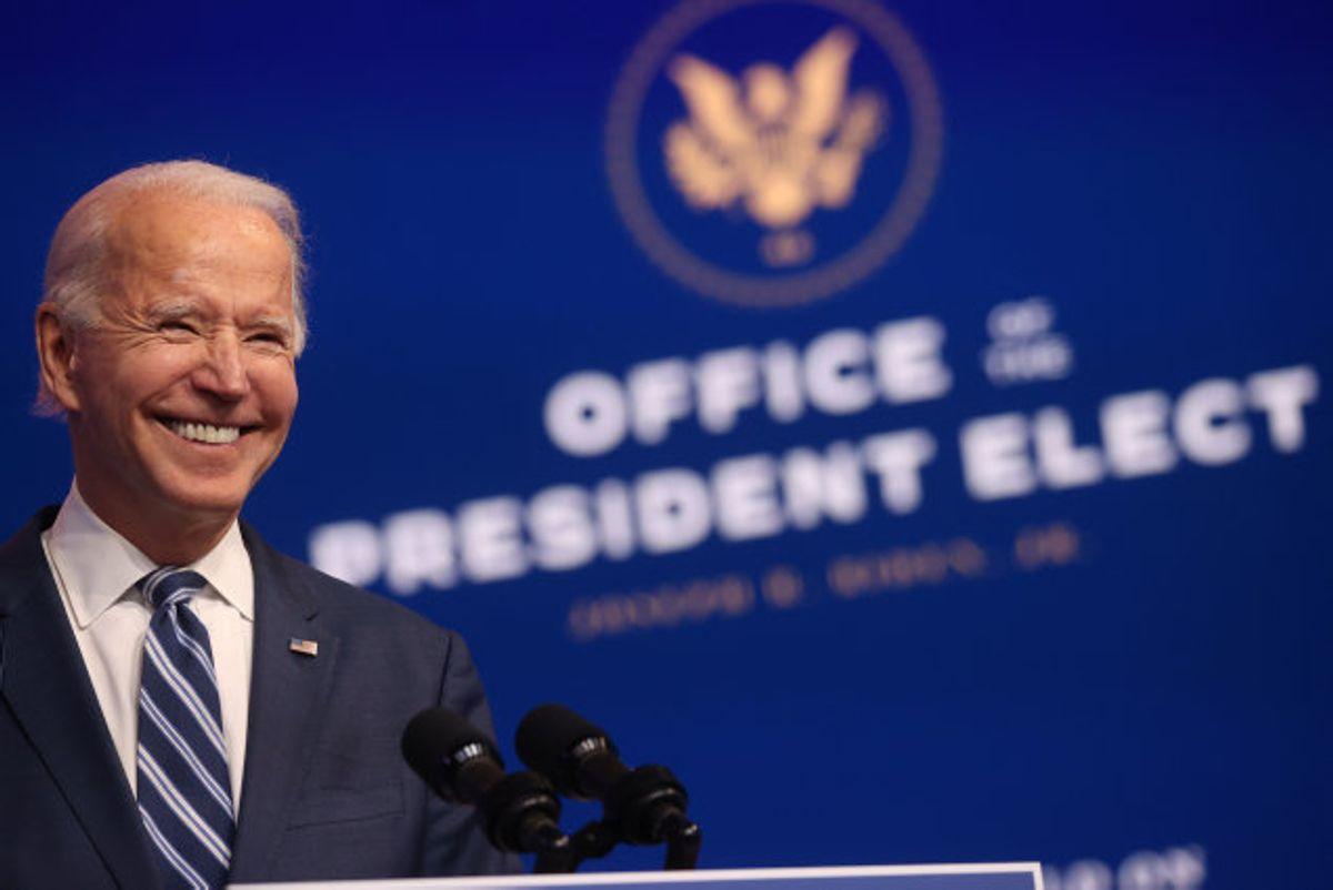 Joe Biden på tirsdagens pressemøde i hovedkvarteret i Wilmington, Delaware. Foto: Jonathan Ernst/Reuters