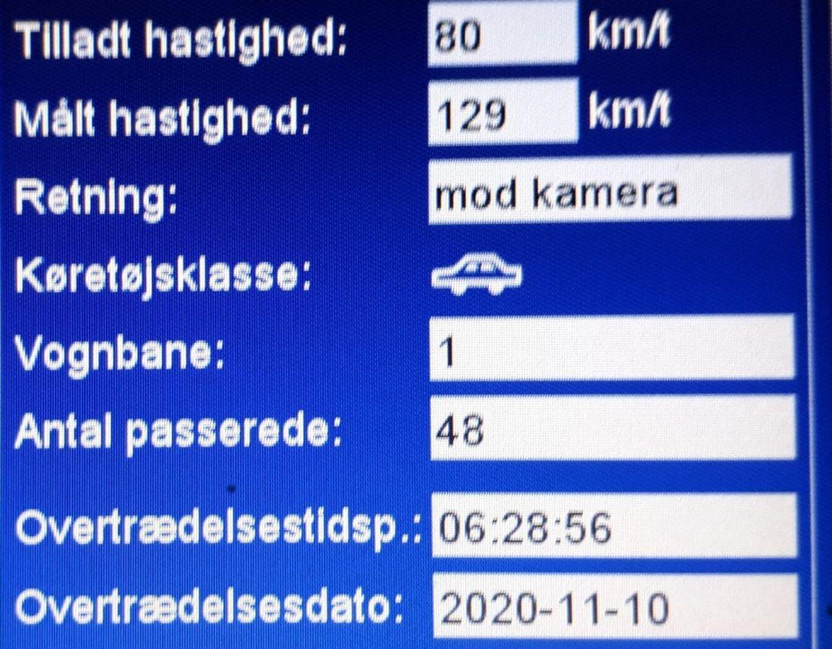 En bilist blev fanget med svimlende 129 kilometer i timen på en landevej tirsdag morgen. Foto: Syd- og Sønderjyllands Politi