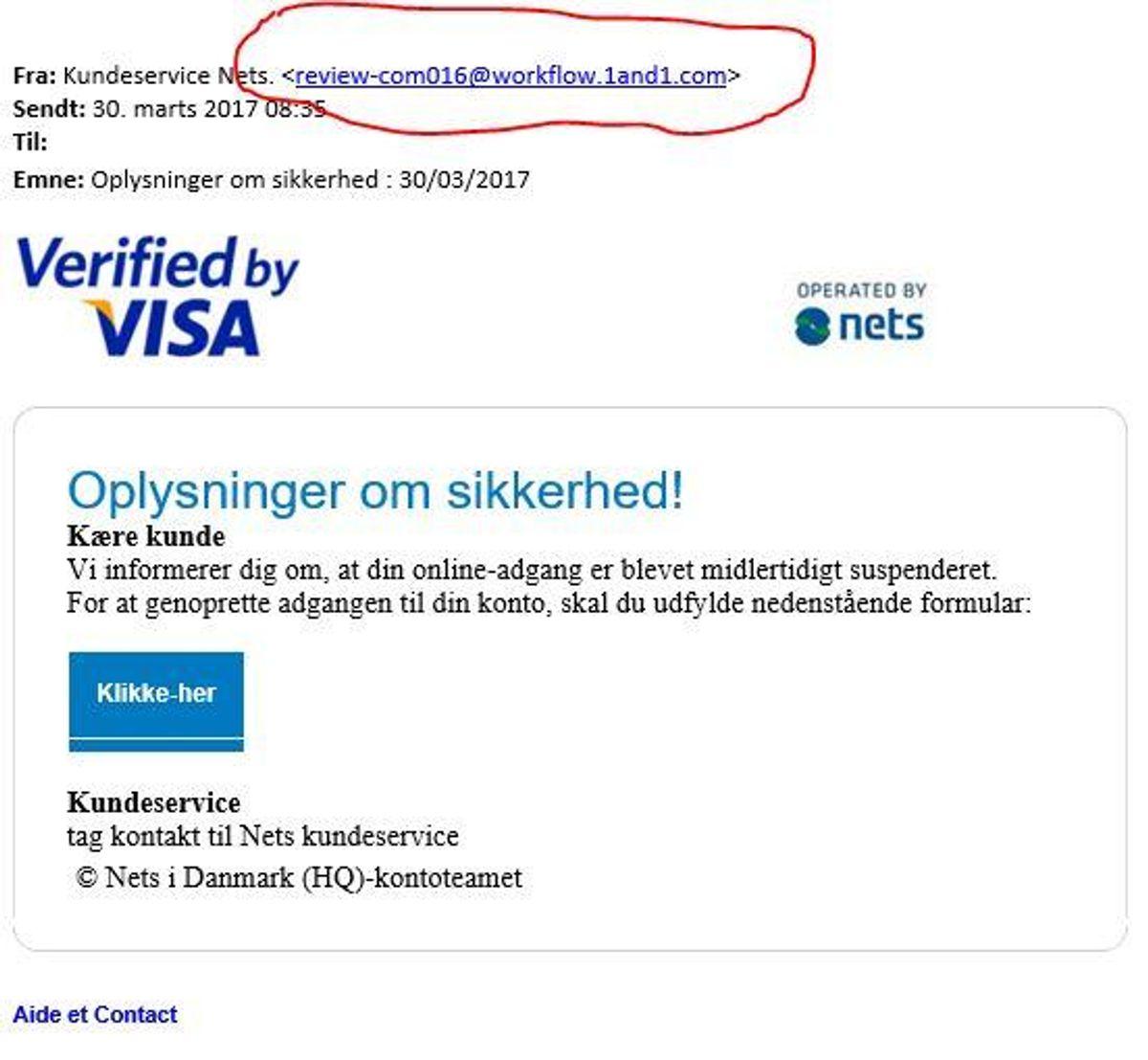 Her er det Nets, der advarer mod en mail, der tilsyneladende omhandler dit Visa-kort. Vi ser dog tydeligt den omtalte elendige oversættelse.