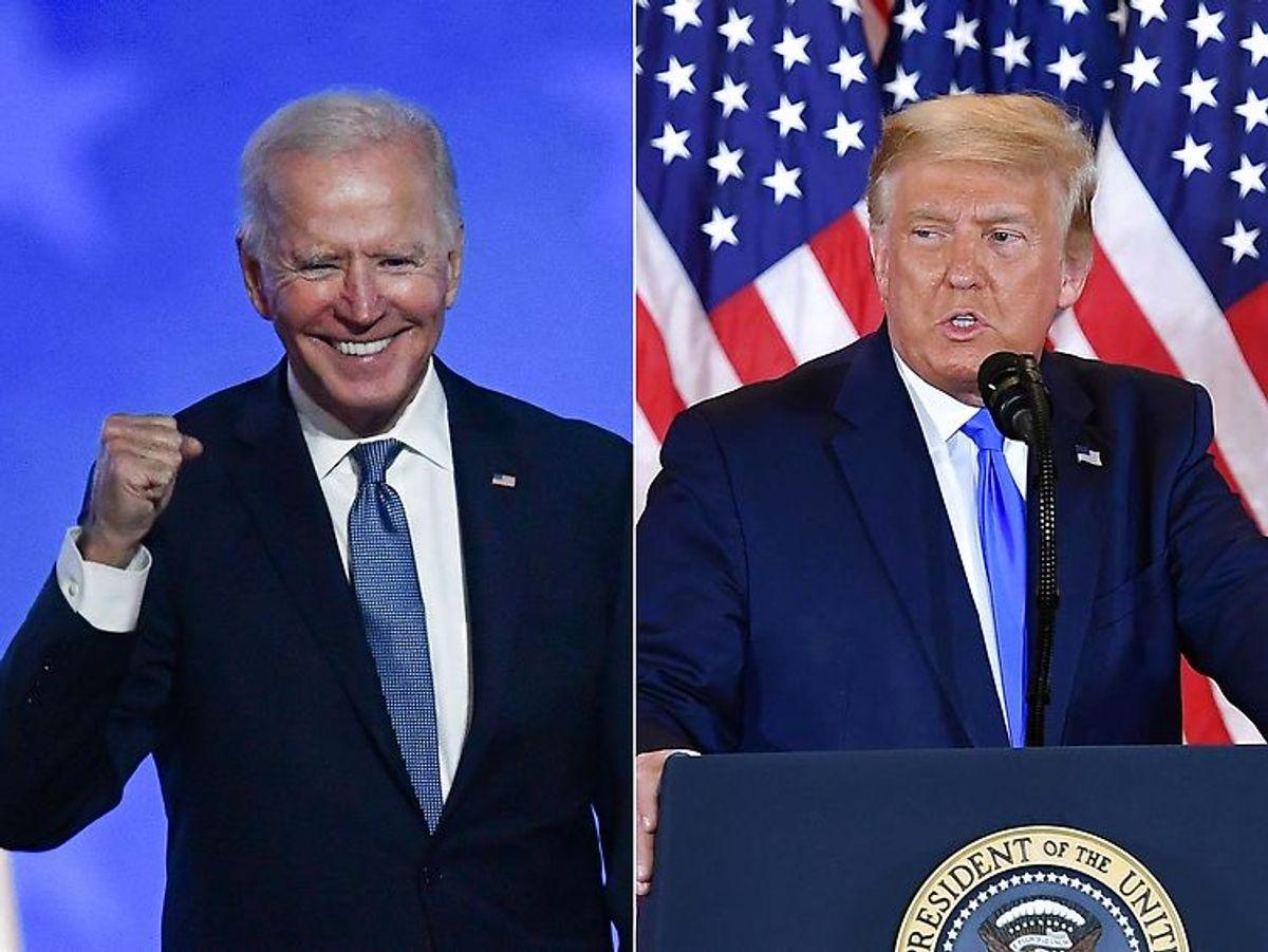 TOPSHOT – (COMBO) This combination of pictures createdAlt tyder på, at vindere af det ameqrikanske præsidentvalg bliver Joe Biden – men han er endnu ikke officielt udråbt som vinder. Arkivfoto: Scanpix.