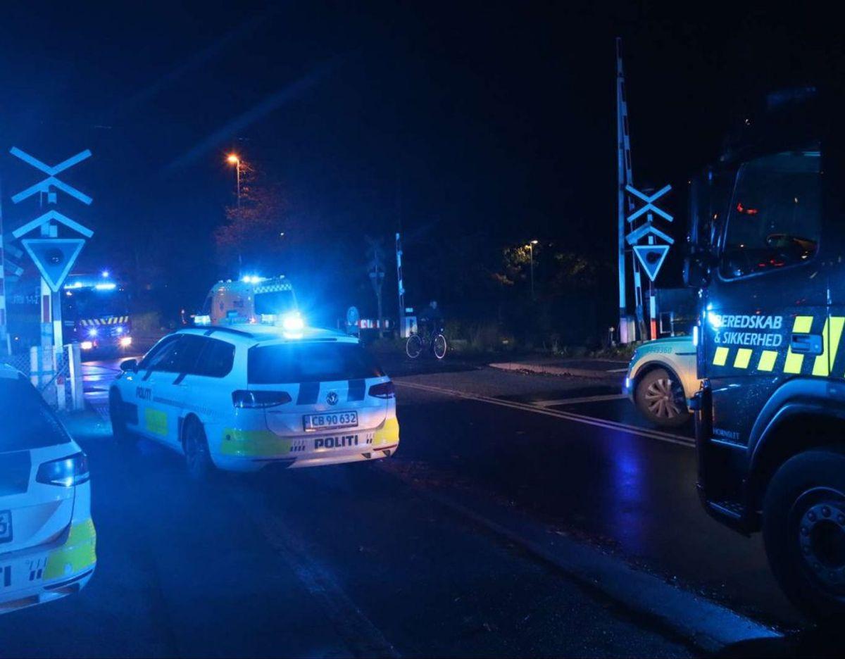 Letbanen kører ikke, da en person er blevet påkørt af Letbanen i Skødstrup. KLIK VIDERE OG SE FLERE BILLEDER.  Foto: Øxenholt Foto