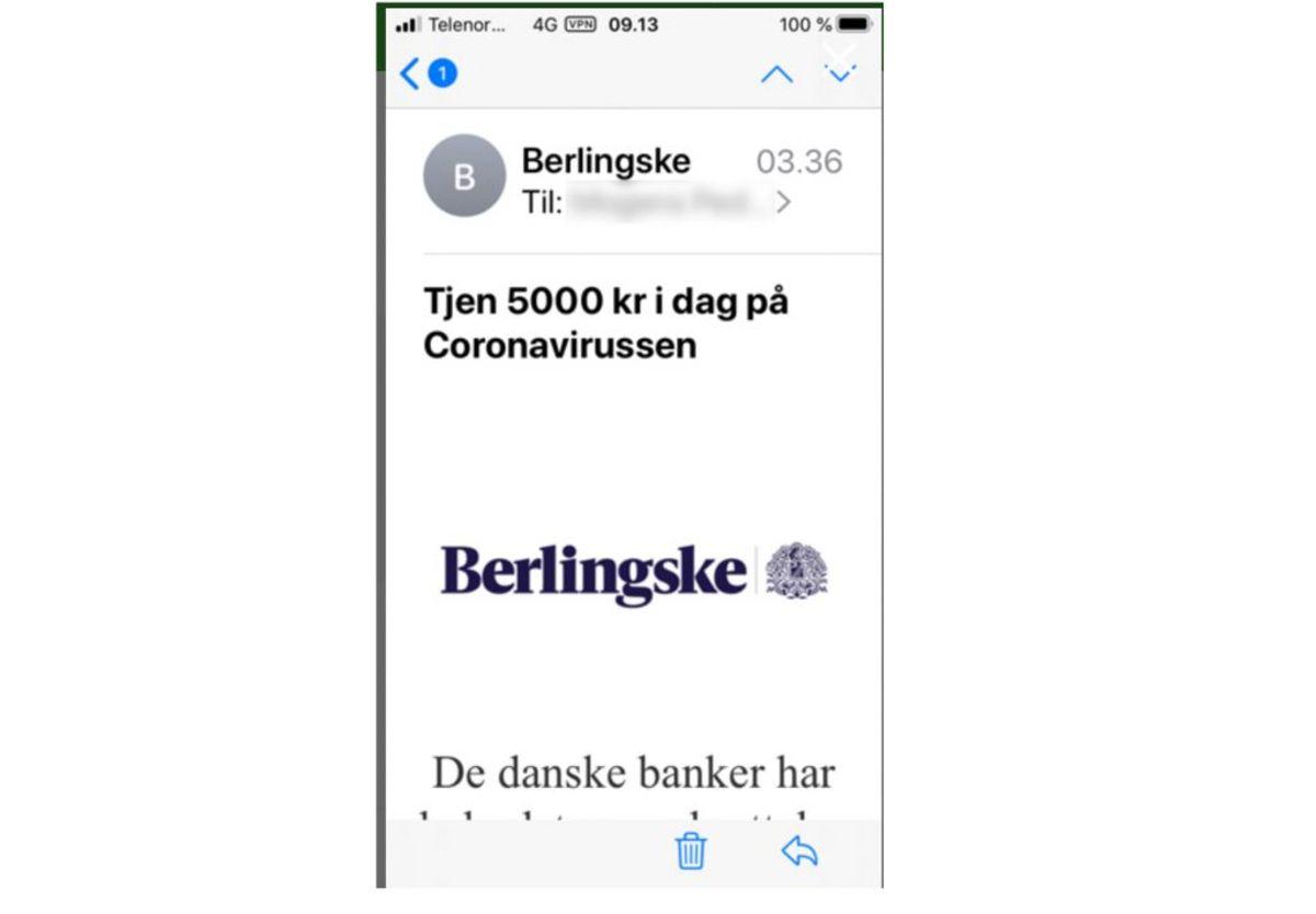 Denne mail er ikke fra Berlingske. Foto: Mit Digitale Selvforsvar