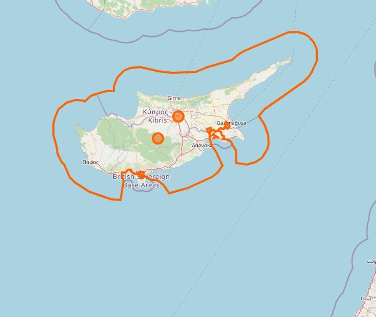 Cypern. Foto: Openstreetmap.org