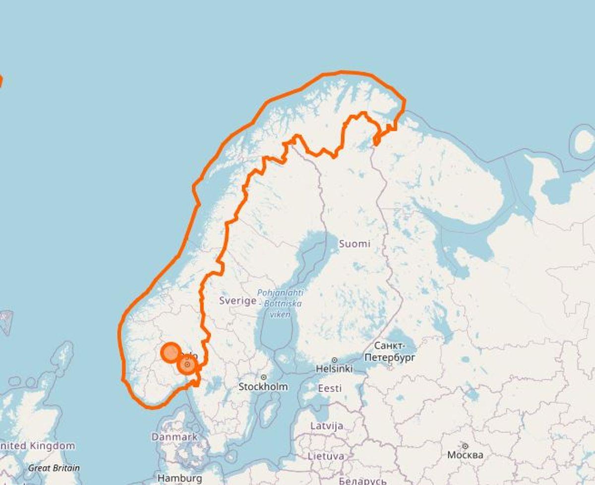 Norge. Her er dog også krav om karantæne. Foto: Openstreetmap.org