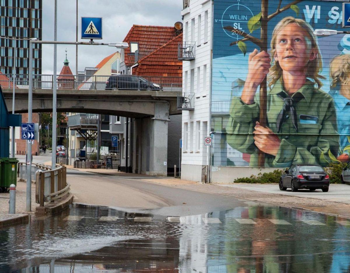 Sønderborg har – som så ofte før – oplevet stigende vandmasser. Foto: Presse-fotos.dk