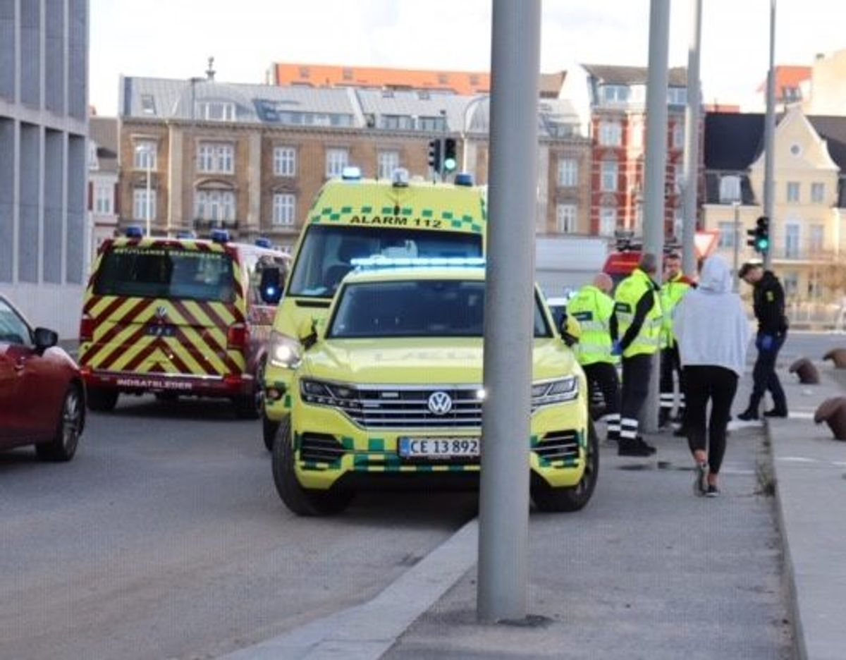 Politi og beredskab på havnen i Aarhus. Foto: Presse-fotos.dk