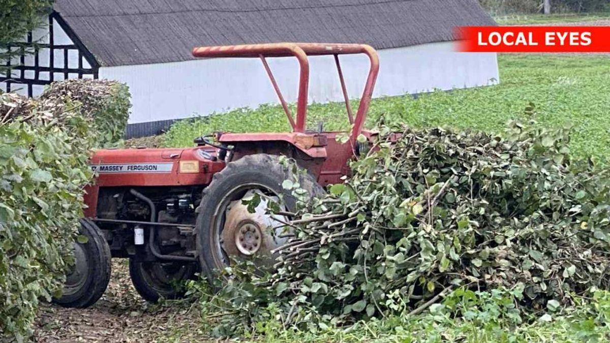 Manden blev klemt under traktoren. Foto: Local Eyes