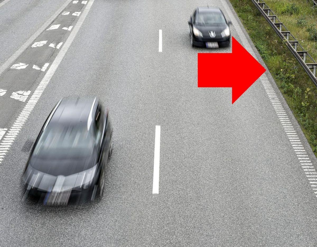 Kører du i venstre vognbane skal du trække til venstre og give plads i midten. Foto: Henning Bagger/Scanpix. /modelfoto.