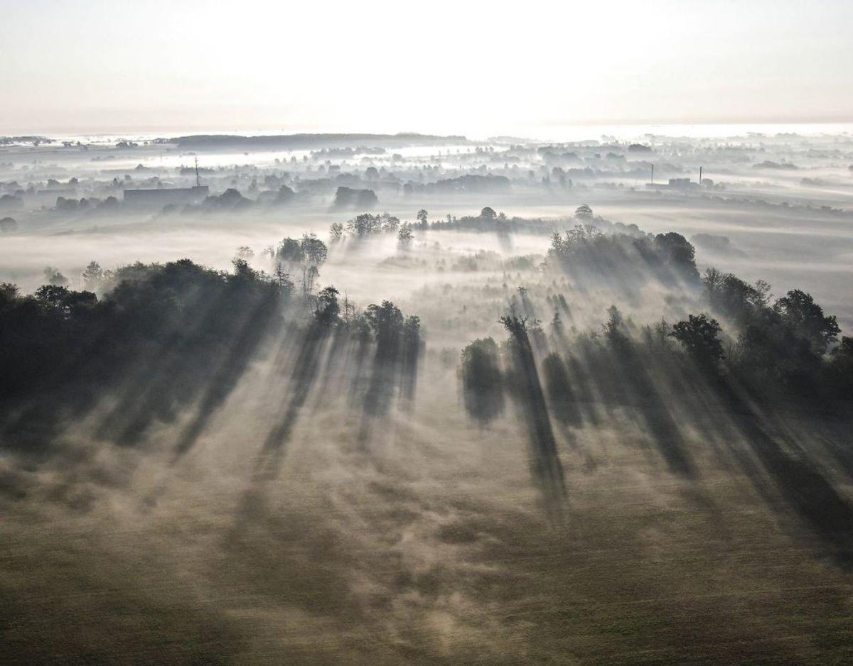Her er det ved Kværndrup på Sydfyn, hvor tågen bugter sig mellem marker og veje. Foto: Michael Bager/Ritzau Scanpix. KLIK VIDERE OG SE FLERE FANTASTISKE TÅGEBILLEDER