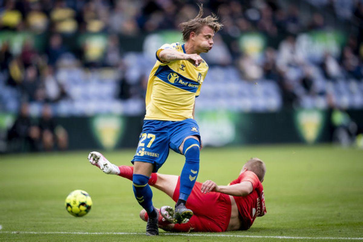 Simon Hedlund reducerede for Brøndby i begyndelsen af anden halvleg. Foto: Mads Claus Rasmussen/Scanpix