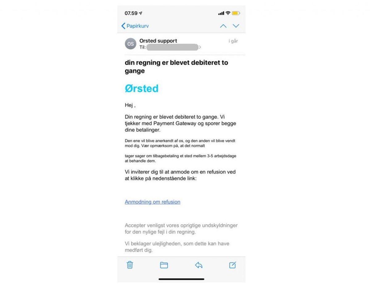 Sådan ser den falske mail ud. Foto: Mit Digitale Selvforsvar