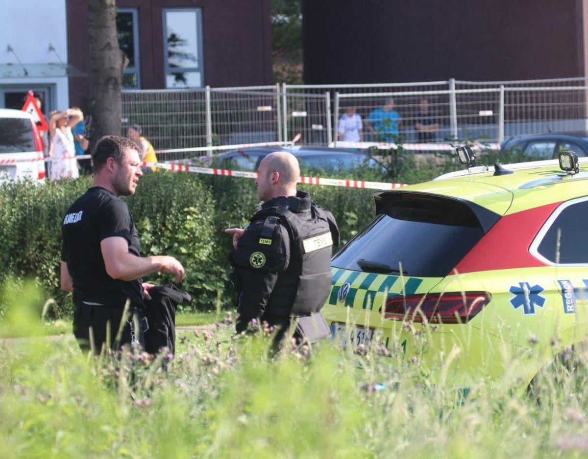 Politiet rykkede ud om aftenen tirsdag den 25. juni 2019. Foto: Presse-fotos.dk.