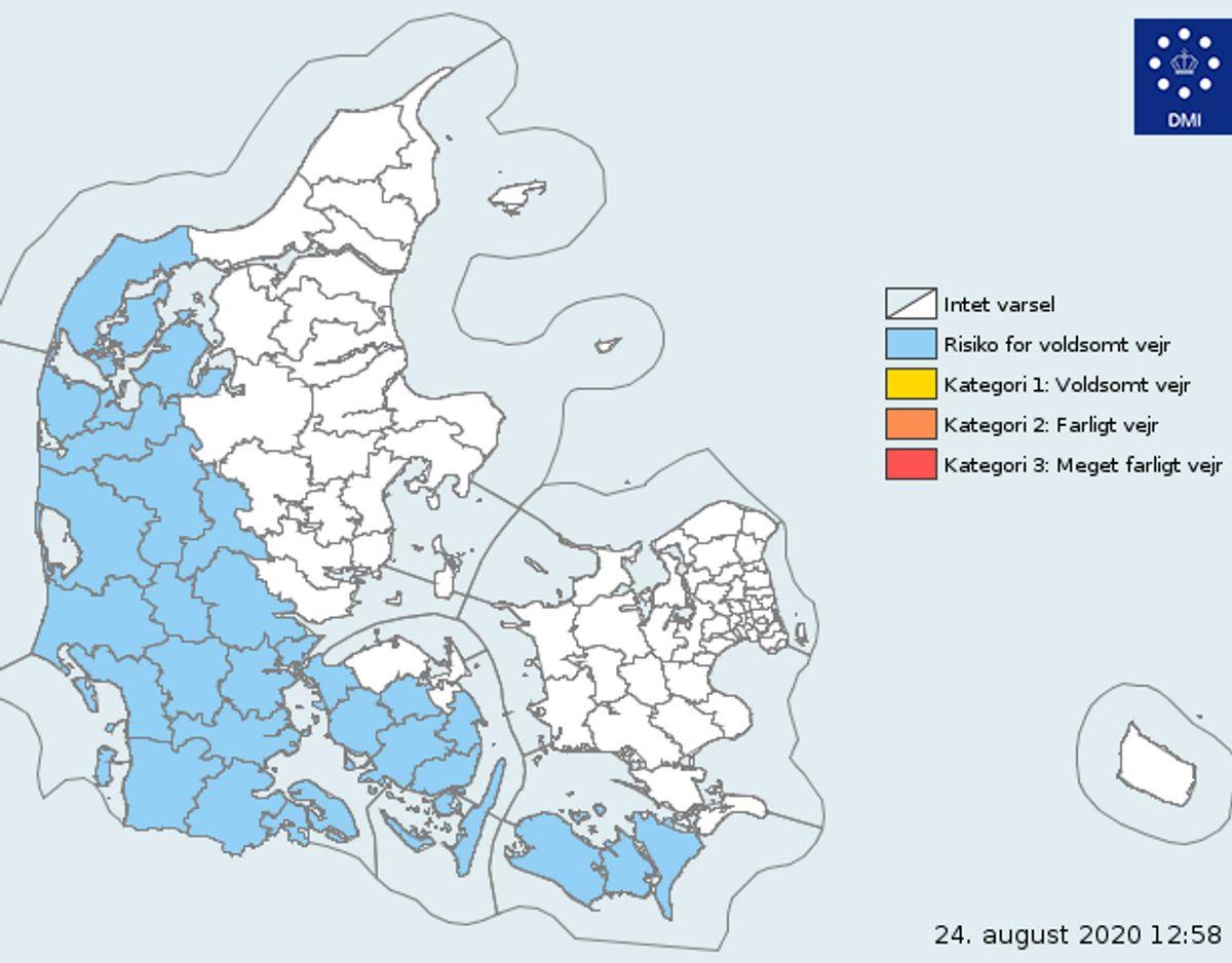 DMI varsler risiko flere steder i landet. Foto: DMI