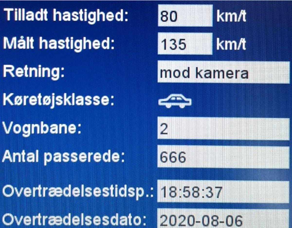 Så stærkt gik det torsdag aften på Tinglevvej. Foto: Syd- og Sønderjyllands Politi.