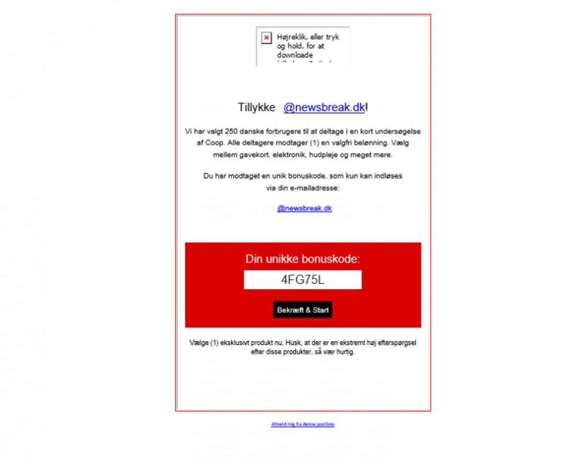 Sådan ser en falsk mail fra Coop ud. Screenshot: Newsbreak.dk